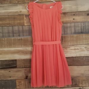 Richie House Girls pleated dress in coral.Size 7/8
